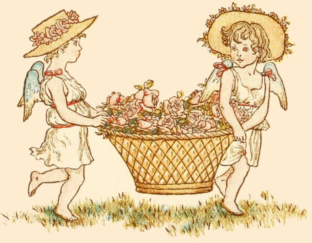 victorian drawing of two cherubs carrying a flower basket