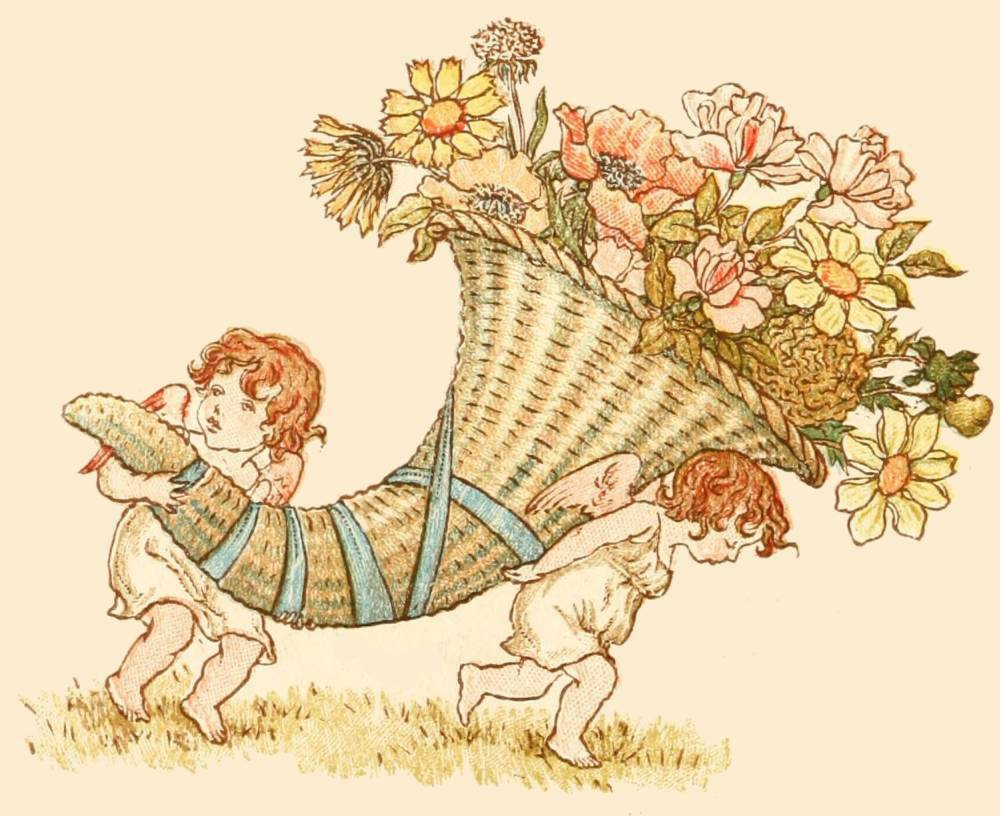 victorian flower image two cherubs carrying a floral cornucopia