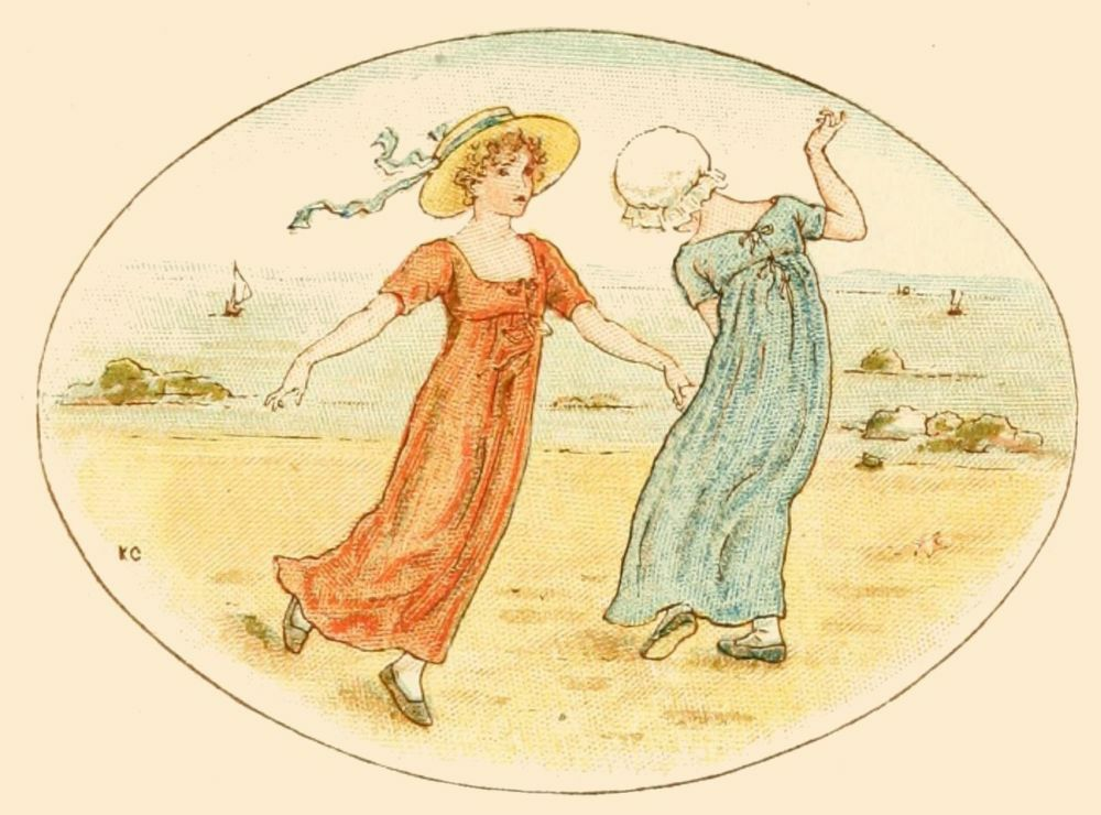 Two victorian girls on the sea shore drawing