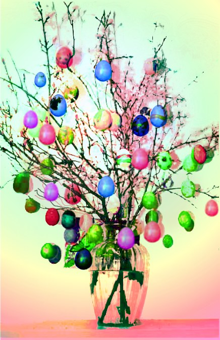 hang the eggs from the branches and voila - there is your magic Easter Bunch or Osterstrauch.