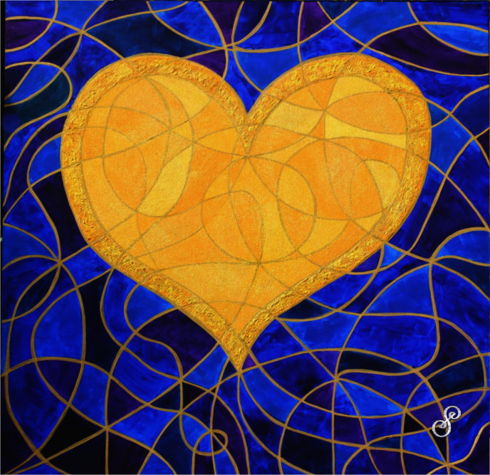 Gold Heart on a blue and purple symbol background by Silvia Hartmann