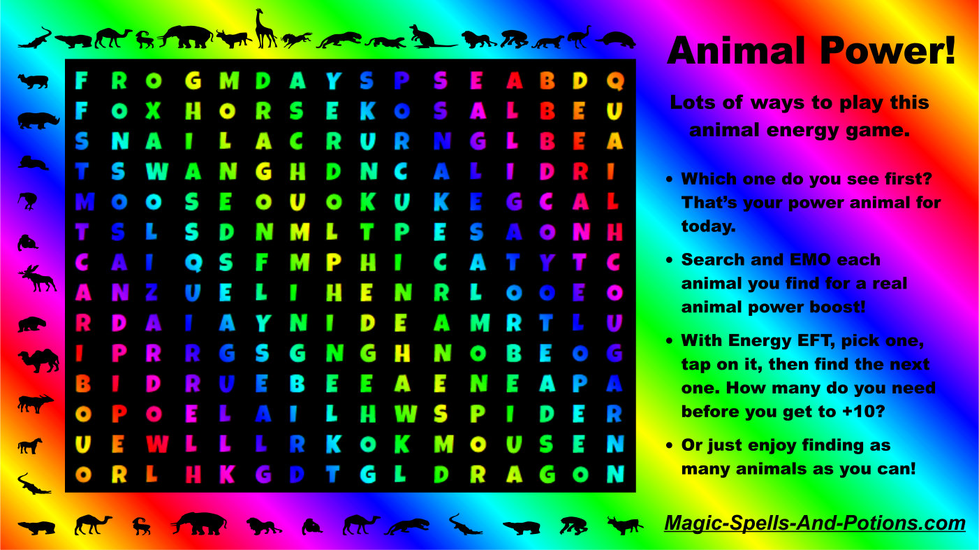 Magic Power Animal Energy Word Search Game - Find your power animal of the day