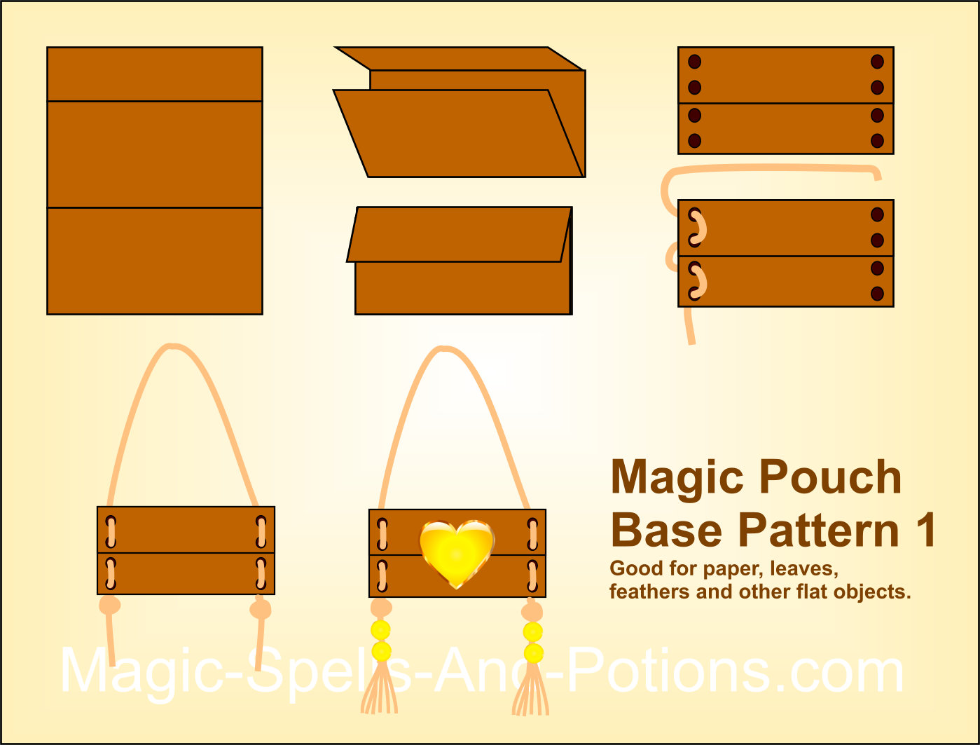 Simple fold over design magic pouch or medicine bag pattern 1