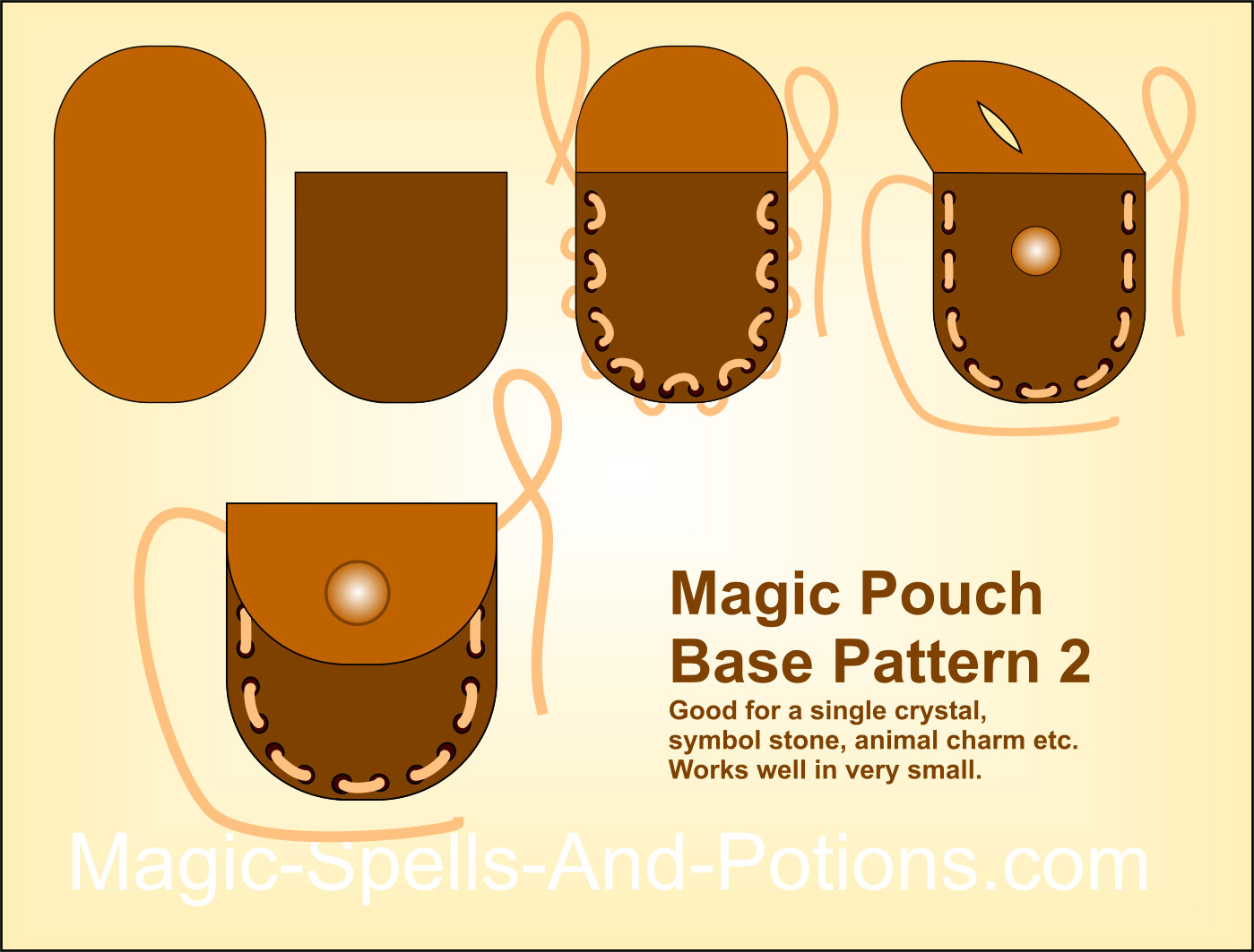 Simple two piece pattern for a magic pouch or medicine bag 2