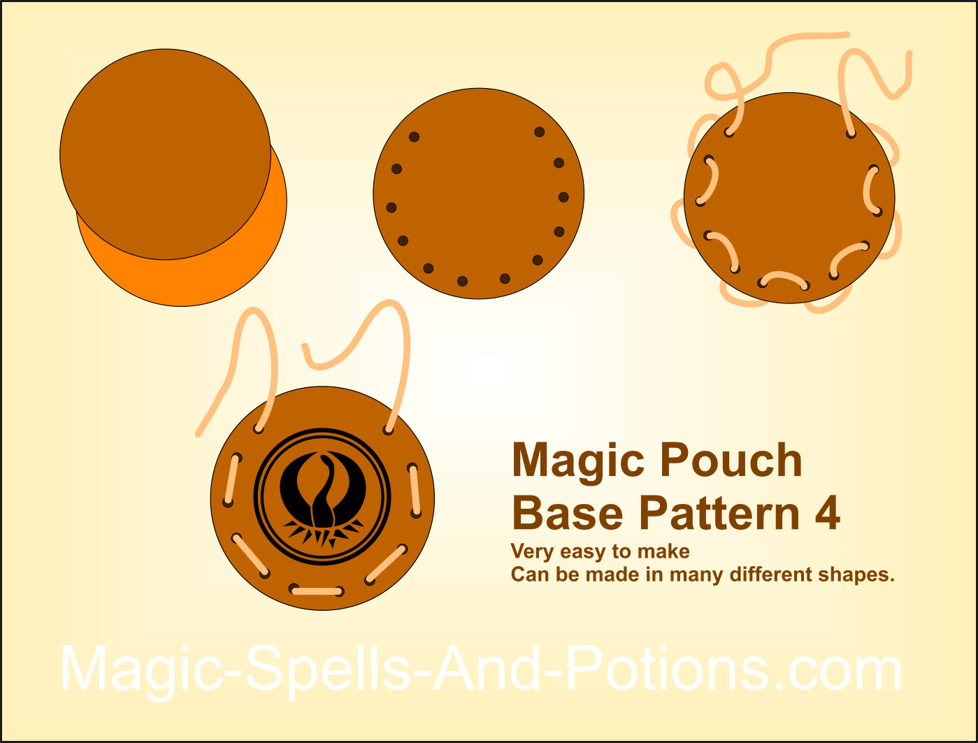 Very easy round/multi-shape pattern for a magic pouch or shaman's purse 4
