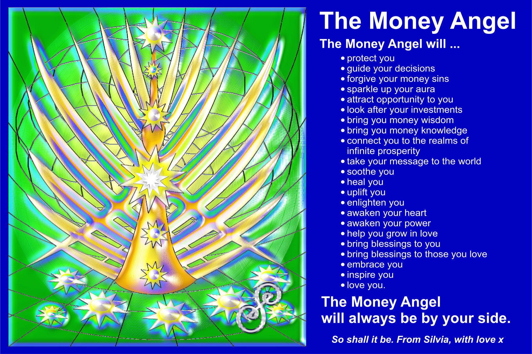 The Money Angel Picture with the evocation words on it