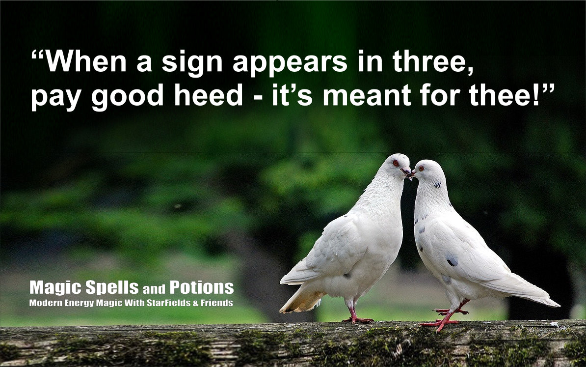 When a sign appears in three - take good heed, it's meant for thee!