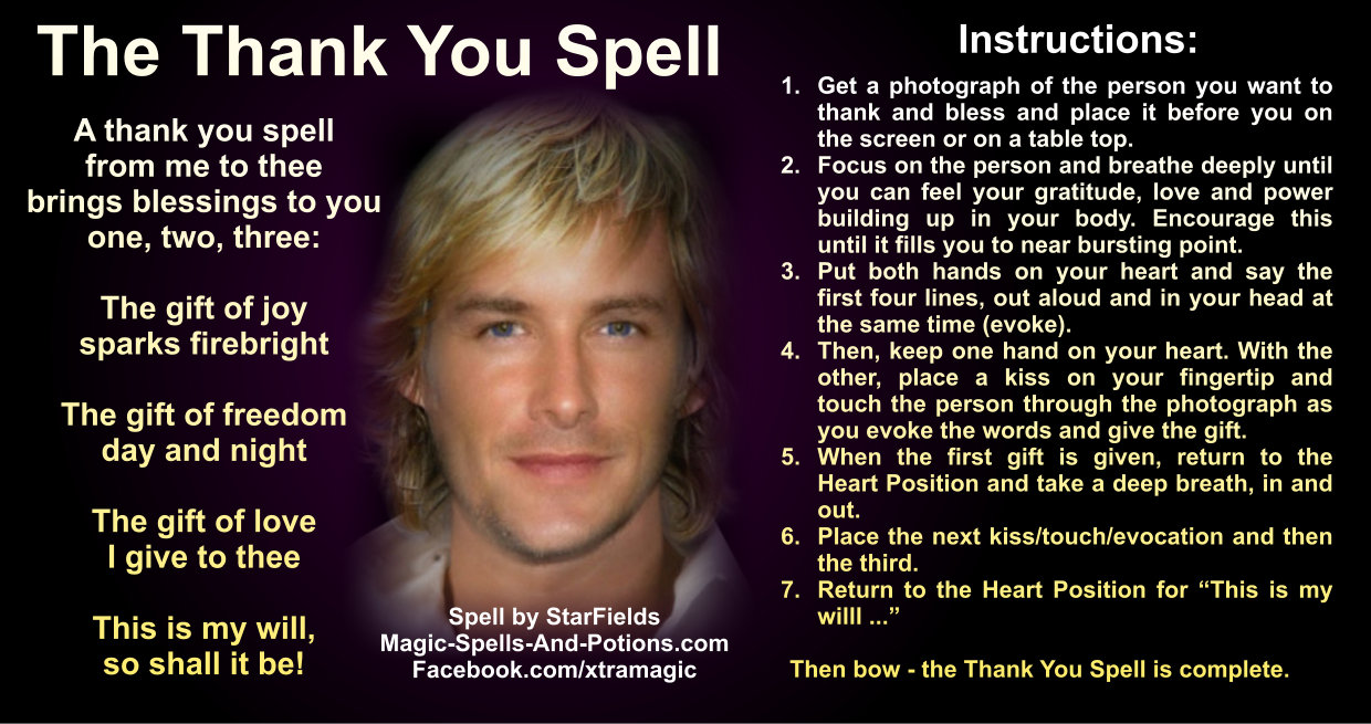 Thank You Spell by Starfields as an image with instructions